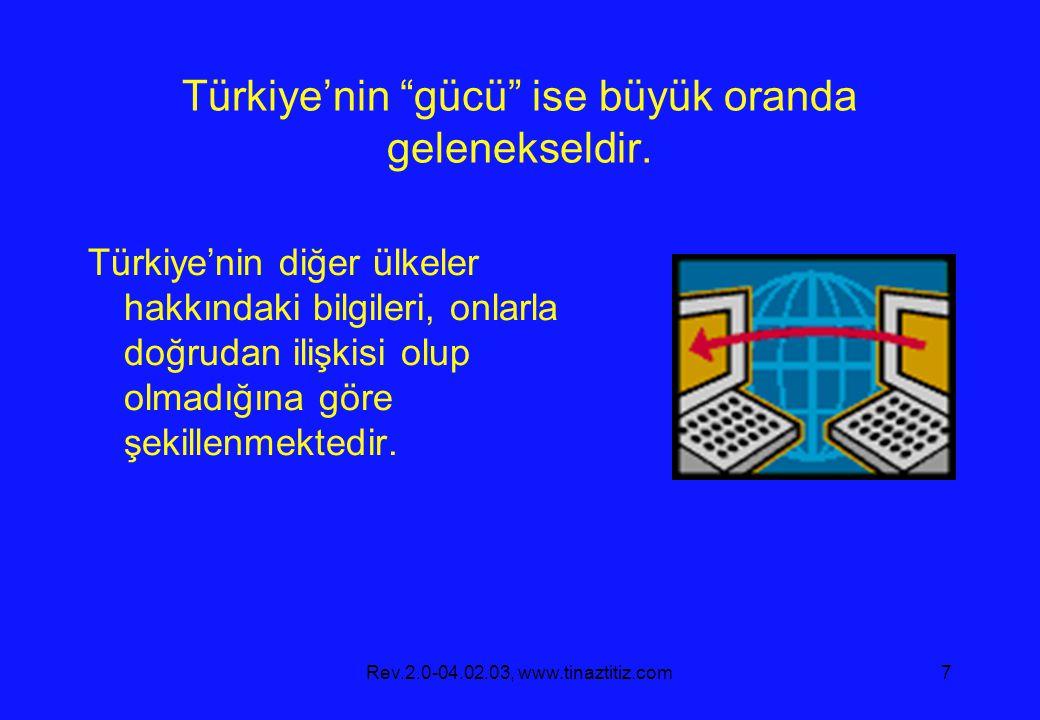 """Rev.2.0-04.02.03, www.tinaztitiz.com7 Türkiye'nin """"gücü"""" ise büyük oranda gelenekseldir. Türkiye'nin diğer ülkeler hakkındaki bilgileri, onlarla doğru"""