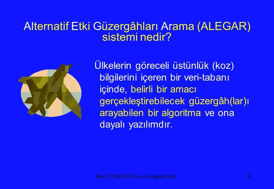 Rev.2.0-04.02.03, www.tinaztitiz.com9 Alternatif Etki Güzergâhları Arama (ALEGAR) sistemi nedir.
