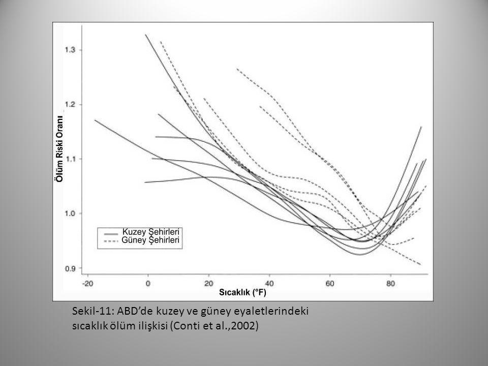 Sekil-11: ABD'de kuzey ve güney eyaletlerindeki sıcaklık ölüm ilişkisi (Conti et al.,2002)