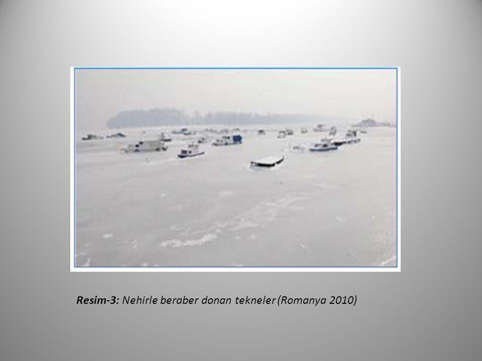 Resim‐3: Nehirle beraber donan tekneler (Romanya 2010)
