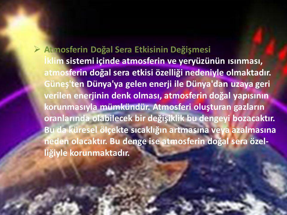  Atmosferin Doğal Sera Etkisinin Değişmesi İklim sistemi içinde atmosferin ve yeryüzünün ısınması, atmosferin doğal sera etkisi özelliği nedeniyle ol