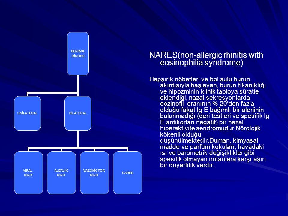 NARES(non-allergic rhinitis with eosinophilia syndrome) Hapşırık nöbetleri ve bol sulu burun akıntısıyla başlayan, burun tıkanıklığı ve hipozminin kli