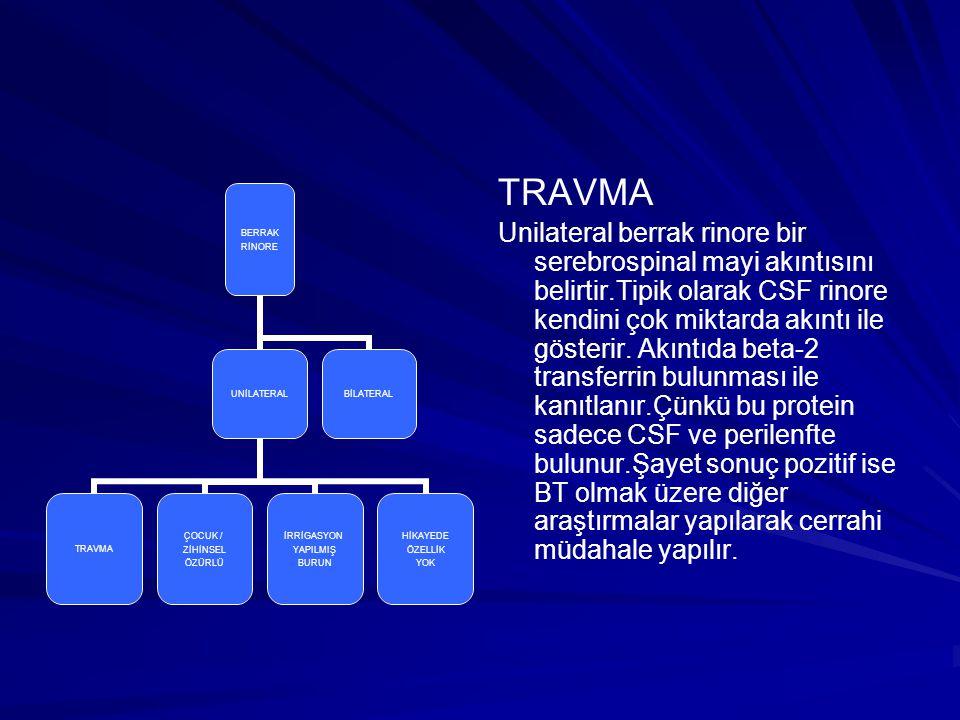 TRAVMA Unilateral berrak rinore bir serebrospinal mayi akıntısını belirtir.Tipik olarak CSF rinore kendini çok miktarda akıntı ile gösterir. Akıntıda