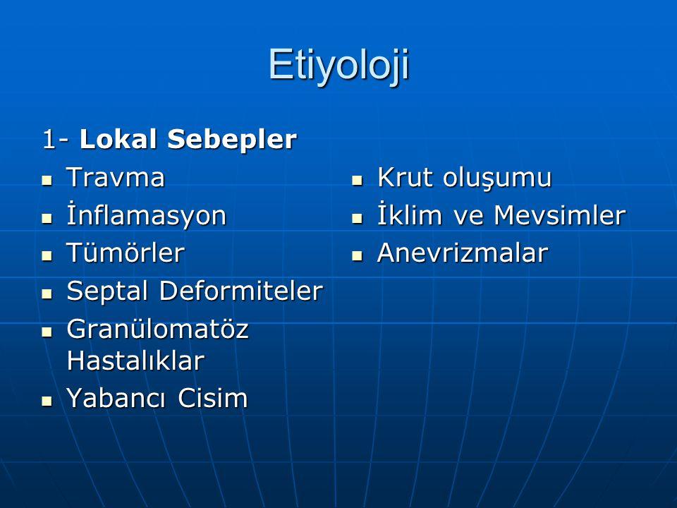 Etiyoloji 1- Lokal Sebepler Travma Travma İnflamasyon İnflamasyon Tümörler Tümörler Septal Deformiteler Septal Deformiteler Granülomatöz Hastalıklar G