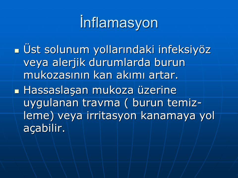 İnflamasyon Üst solunum yollarındaki infeksiyöz veya alerjik durumlarda burun mukozasının kan akımı artar.