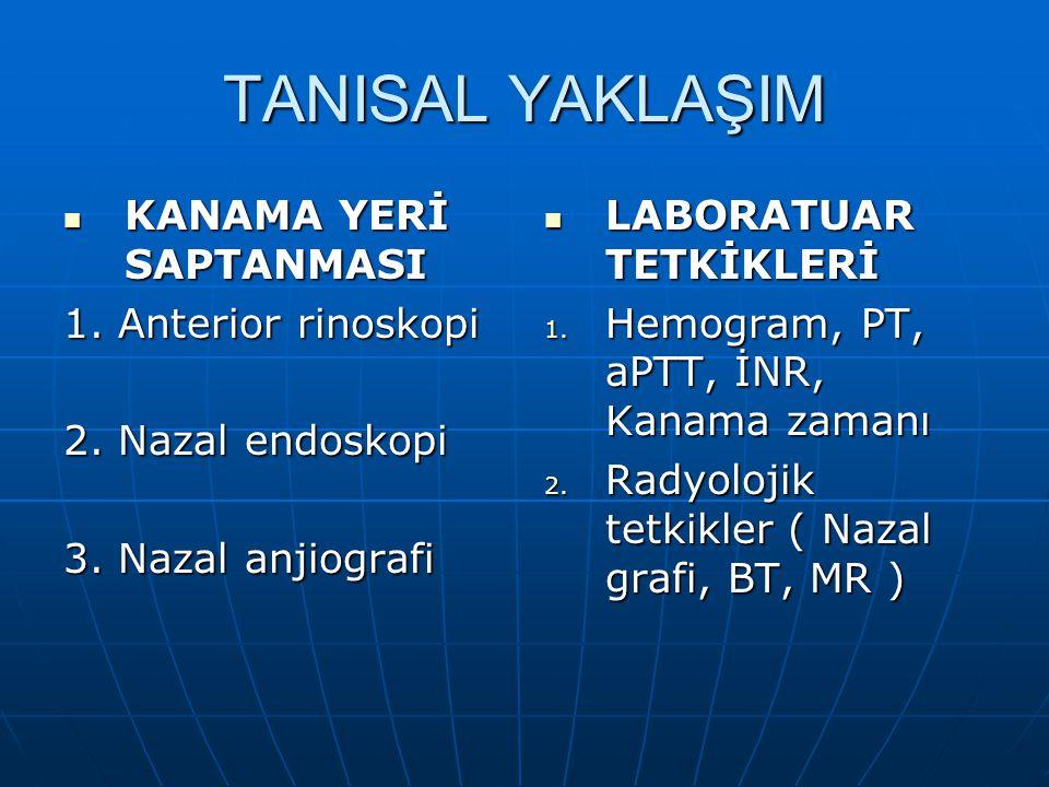 TANISAL YAKLAŞIM KANAMA YERİ SAPTANMASI KANAMA YERİ SAPTANMASI 1. Anterior rinoskopi 2. Nazal endoskopi 3. Nazal anjiografi LABORATUAR TETKİKLERİ LABO