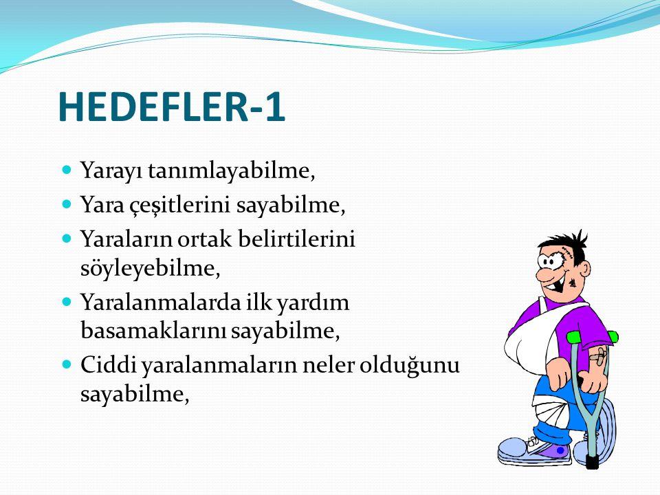 HEDEFLER-1 Yarayı tanımlayabilme, Yara çeşitlerini sayabilme, Yaraların ortak belirtilerini söyleyebilme, Yaralanmalarda ilk yardım basamaklarını saya