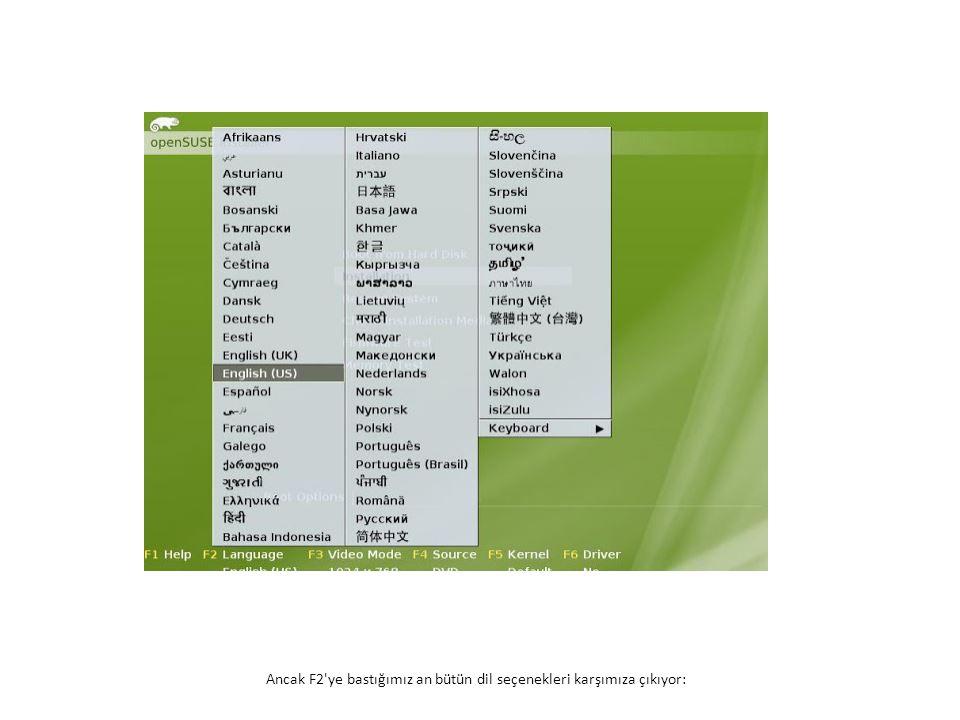 Ancak F2 ye bastığımız an bütün dil seçenekleri karşımıza çıkıyor: