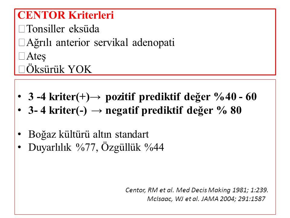 CENTOR Kriterleri  Tonsiller eksüda  Ağrılı anterior servikal adenopati  Ateş  Öksürük YOK 3 -4 kriter(+)→ pozitif prediktif değer %40 - 60 3- 4 k