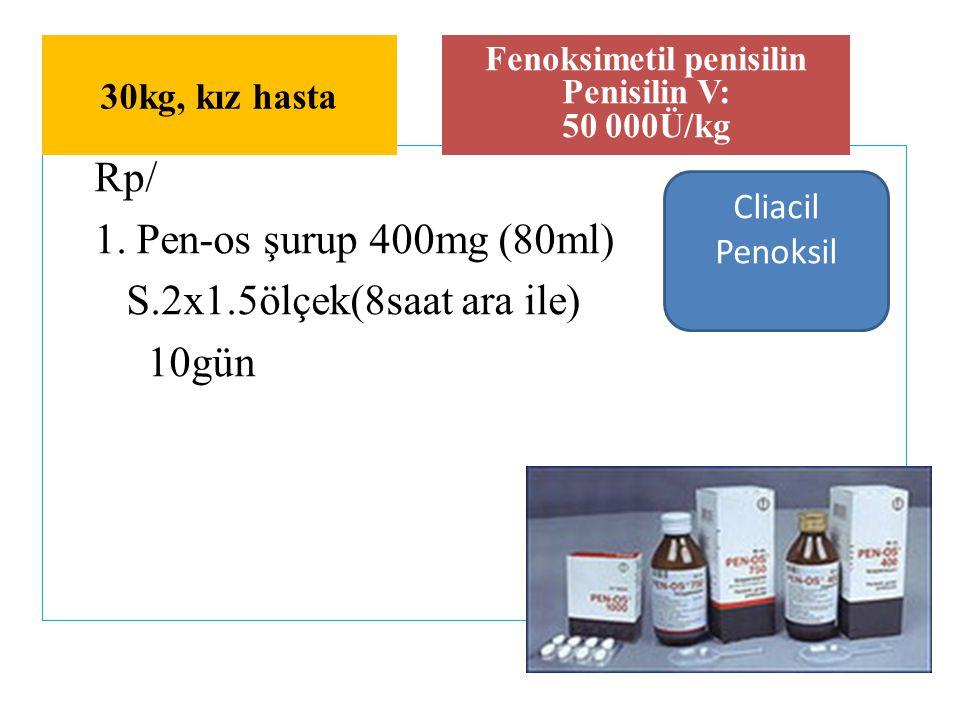 Rp/ 1. Pen-os şurup 400mg (80ml) S.2x1.5ölçek(8saat ara ile) 10gün Fenoksimetil penisilin Penisilin V: 50 000Ü/kg 30kg, kız hasta Cliacil Penoksil