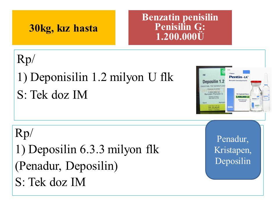 Rp/ 1) Deponisilin 1.2 milyon U flk S: Tek doz IM 30kg, kız hasta Benzatin penisilin Penisilin G: 1.200.000Ü Rp/ 1) Deposilin 6.3.3 milyon flk (Penadu