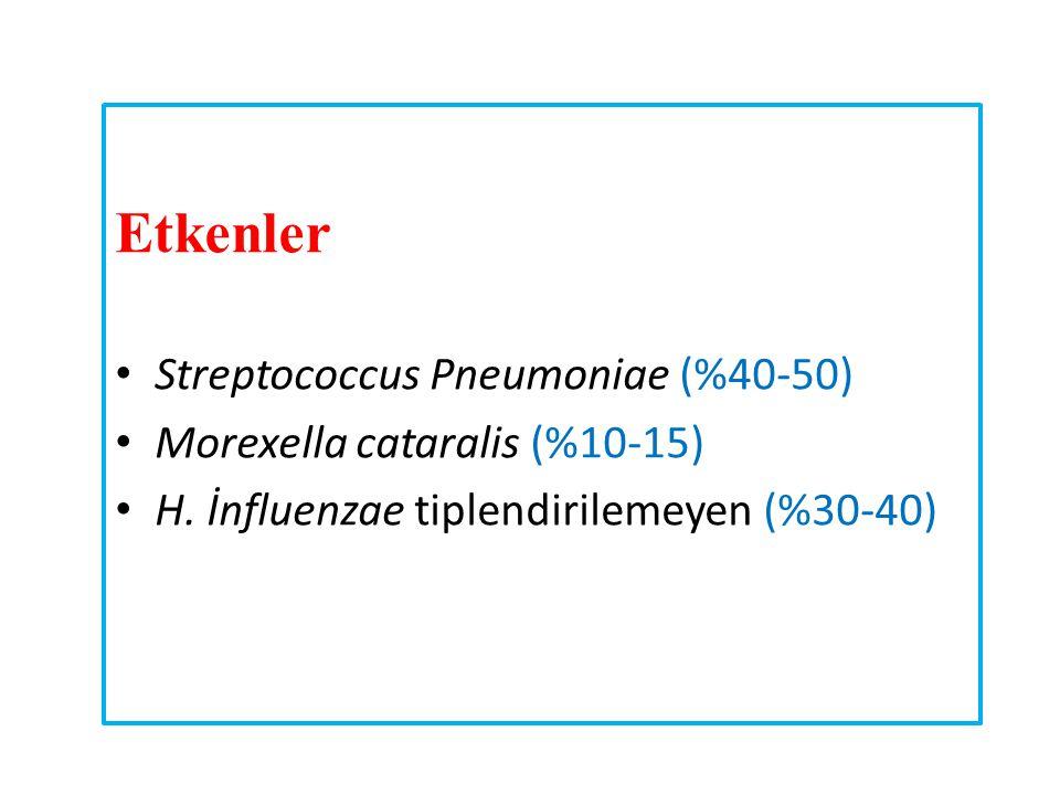 Etkenler Streptococcus Pneumoniae (%40-50) Morexella cataralis (%10-15) H. İnfluenzae tiplendirilemeyen (%30-40)