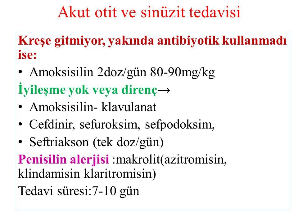 Akut otit ve sinüzit tedavisi Kreşe gitmiyor, yakında antibiyotik kullanmadı ise: Amoksisilin 2doz/gün 80-90mg/kg İyileşme yok veya direnç→ Amoksisili