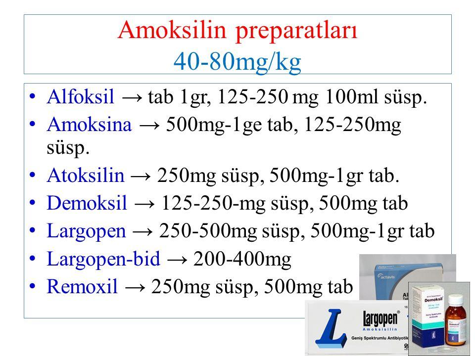 Amoksilin preparatları 40-80mg/kg Alfoksil → tab 1gr, 125-250 mg 100ml süsp. Amoksina → 500mg-1ge tab, 125-250mg süsp. Atoksilin → 250mg süsp, 500mg-1