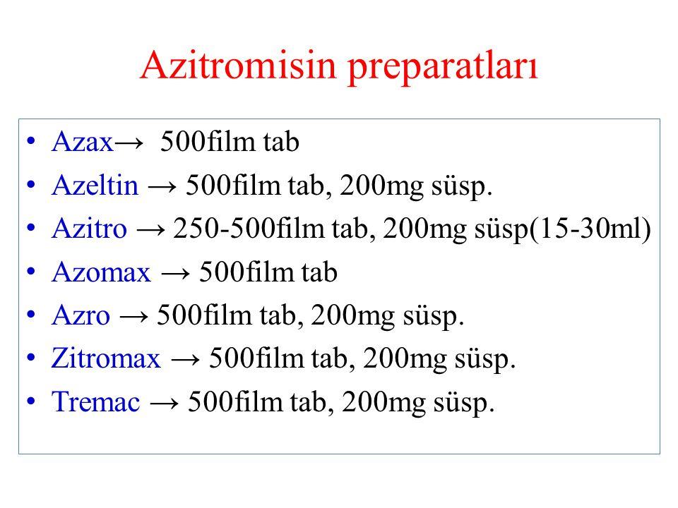 Azitromisin preparatları Azax→ 500film tab Azeltin → 500film tab, 200mg süsp. Azitro → 250-500film tab, 200mg süsp(15-30ml) Azomax → 500film tab Azro