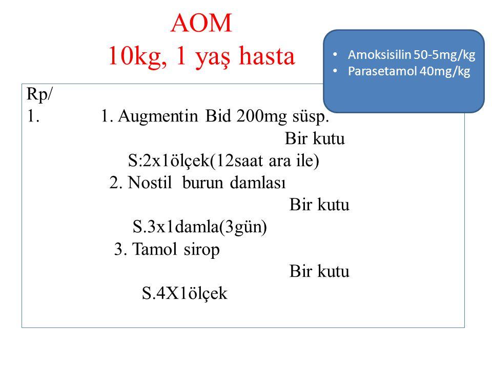 AOM 10kg, 1 yaş hasta Rp/ 1. 1. Augmentin Bid 200mg süsp. Bir kutu S:2x1ölçek(12saat ara ile) 2. Nostil burun damlası Bir kutu S.3x1damla(3gün) 3. Tam