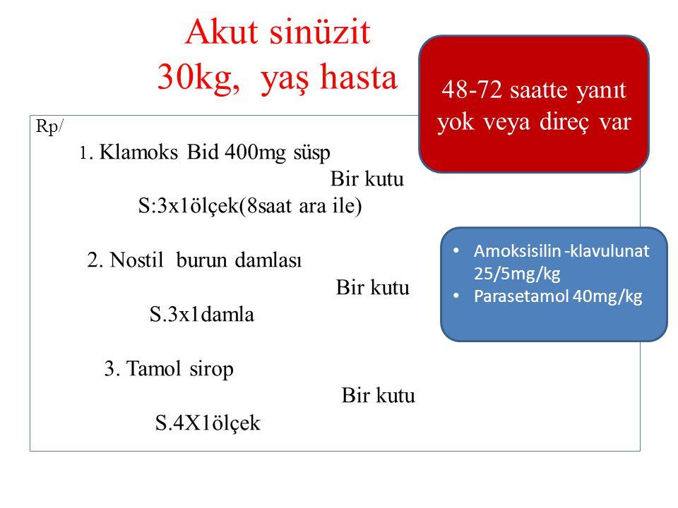 Akut sinüzit 30kg, yaş hasta Rp/ 1. Klamoks Bid 400mg süsp Bir kutu S:3x1ölçek(8saat ara ile) 2. Nostil burun damlası Bir kutu S.3x1damla 3. Tamol sir