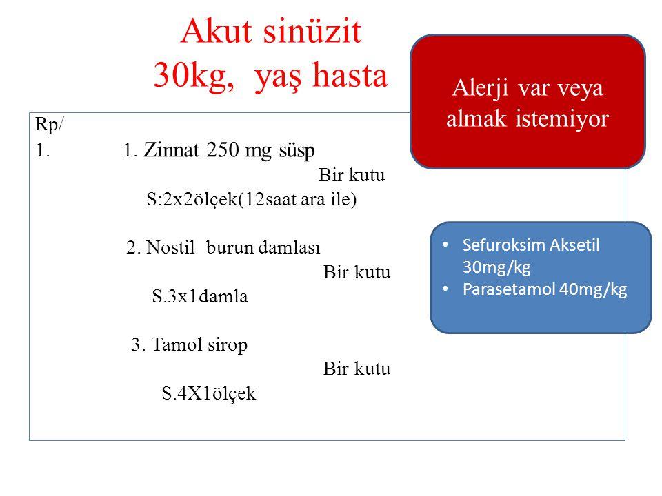 Akut sinüzit 30kg, yaş hasta Rp/ 1. 1. Zinnat 250 mg süsp Bir kutu S:2x2ölçek(12saat ara ile) 2. Nostil burun damlası Bir kutu S.3x1damla 3. Tamol sir