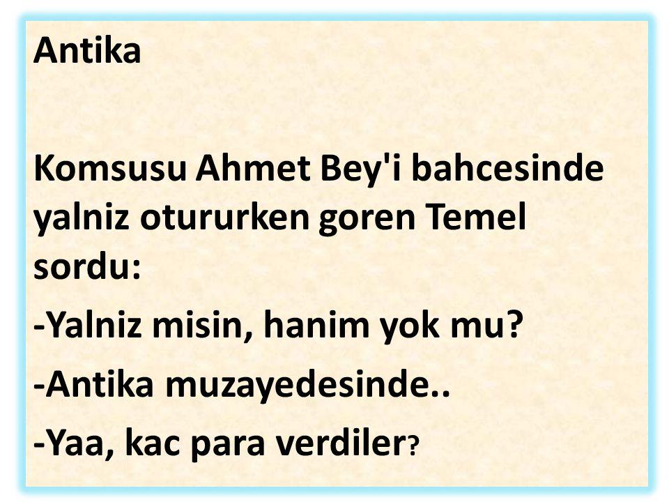 Antika Komsusu Ahmet Bey'i bahcesinde yalniz otururken goren Temel sordu: -Yalniz misin, hanim yok mu? -Antika muzayedesinde.. -Yaa, kac para verdiler