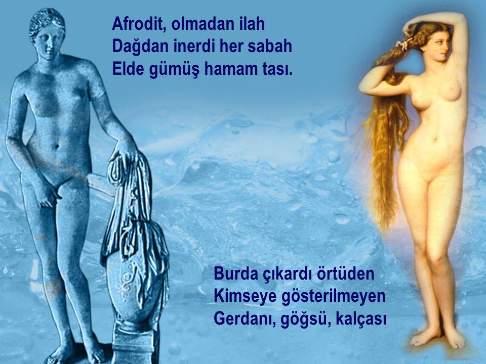 Afrodit, olmadan ilah Dağdan inerdi her sabah Elde gümüş hamam tası. Burda çıkardı örtüden Kimseye gösterilmeyen Gerdanı, göğsü, kalçası