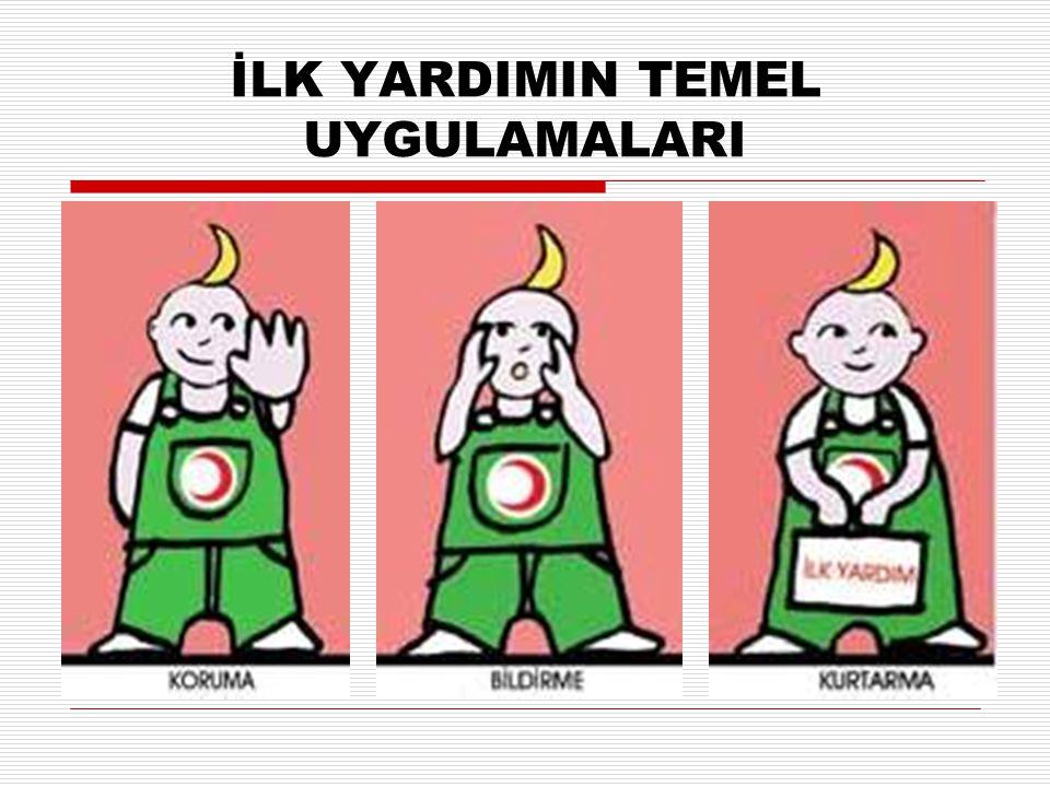 K.B.K Koruma (K): Olay yerinde güvenliğin sağlanması Bildirme (B): Acil yardım ekiplerinin harekete geçirilmesi Kurtarma (K): Hastaya ya da yaralıya ilk yardım işlemlerinin yapılması