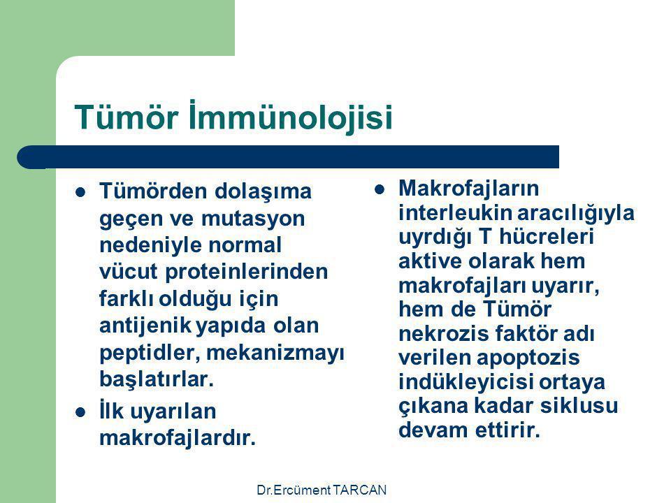 Dr.Ercüment TARCAN Tümör İmmünolojisi Tümörden dolaşıma geçen ve mutasyon nedeniyle normal vücut proteinlerinden farklı olduğu için antijenik yapıda o