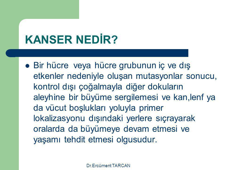 Dr.Ercüment TARCAN KANSER NEDİR? Bir hücre veya hücre grubunun iç ve dış etkenler nedeniyle oluşan mutasyonlar sonucu, kontrol dışı çoğalmayla diğer d