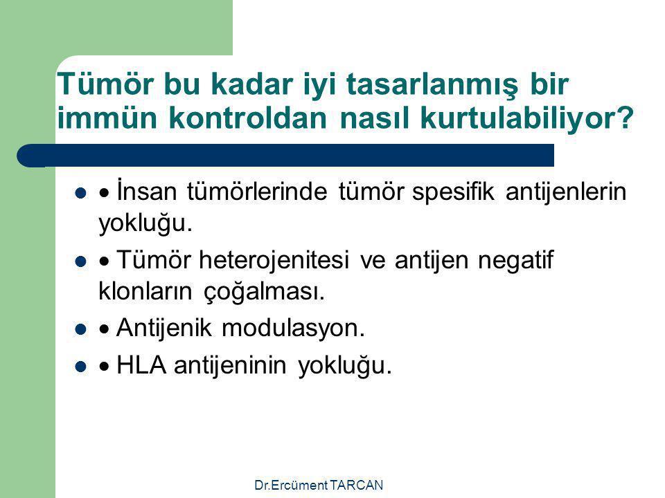 Tümör bu kadar iyi tasarlanmış bir immün kontroldan nasıl kurtulabiliyor?  İnsan tümörlerinde tümör spesifik antijenlerin yokluğu.  Tümör heterojeni
