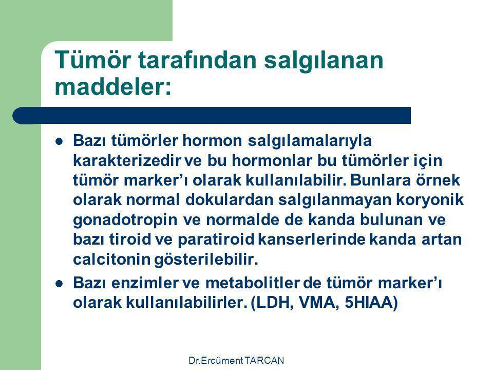 Dr.Ercüment TARCAN Tümör tarafından salgılanan maddeler: Bazı tümörler hormon salgılamalarıyla karakterizedir ve bu hormonlar bu tümörler için tümör m