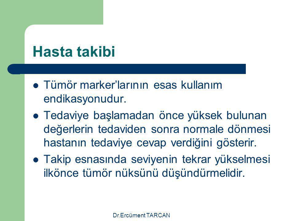 Dr.Ercüment TARCAN Hasta takibi Tümör marker'larının esas kullanım endikasyonudur. Tedaviye başlamadan önce yüksek bulunan değerlerin tedaviden sonra