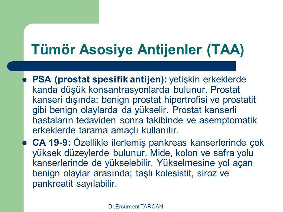 Dr.Ercüment TARCAN Tümör Asosiye Antijenler (TAA) PSA (prostat spesifik antijen): yetişkin erkeklerde kanda düşük konsantrasyonlarda bulunur. Prostat