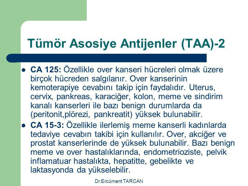 Dr.Ercüment TARCAN Tümör Asosiye Antijenler (TAA)-2 CA 125: Özellikle over kanseri hücreleri olmak üzere birçok hücreden salgılanır. Over kanserinin k