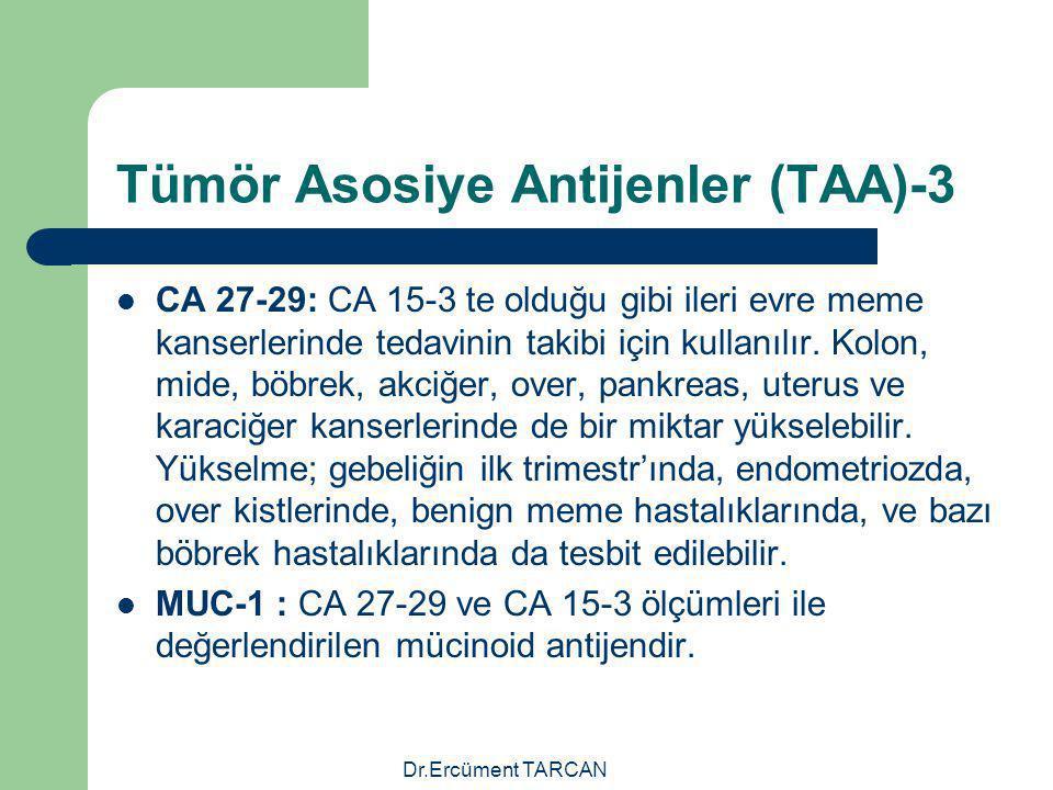 Dr.Ercüment TARCAN Tümör Asosiye Antijenler (TAA)-3 CA 27-29: CA 15-3 te olduğu gibi ileri evre meme kanserlerinde tedavinin takibi için kullanılır. K