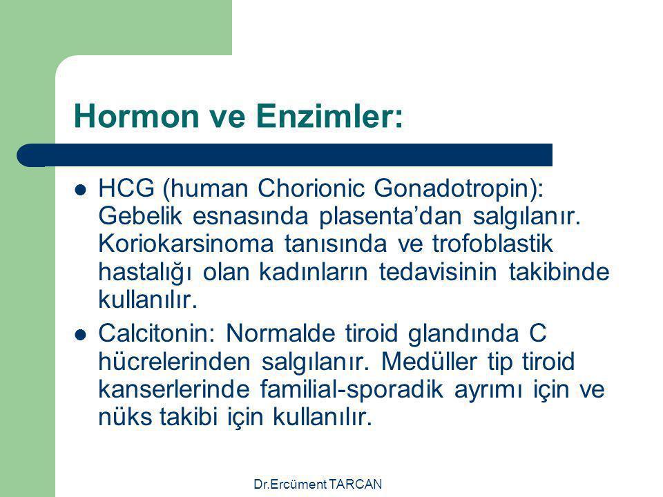 Dr.Ercüment TARCAN Hormon ve Enzimler: HCG (human Chorionic Gonadotropin): Gebelik esnasında plasenta'dan salgılanır. Koriokarsinoma tanısında ve trof