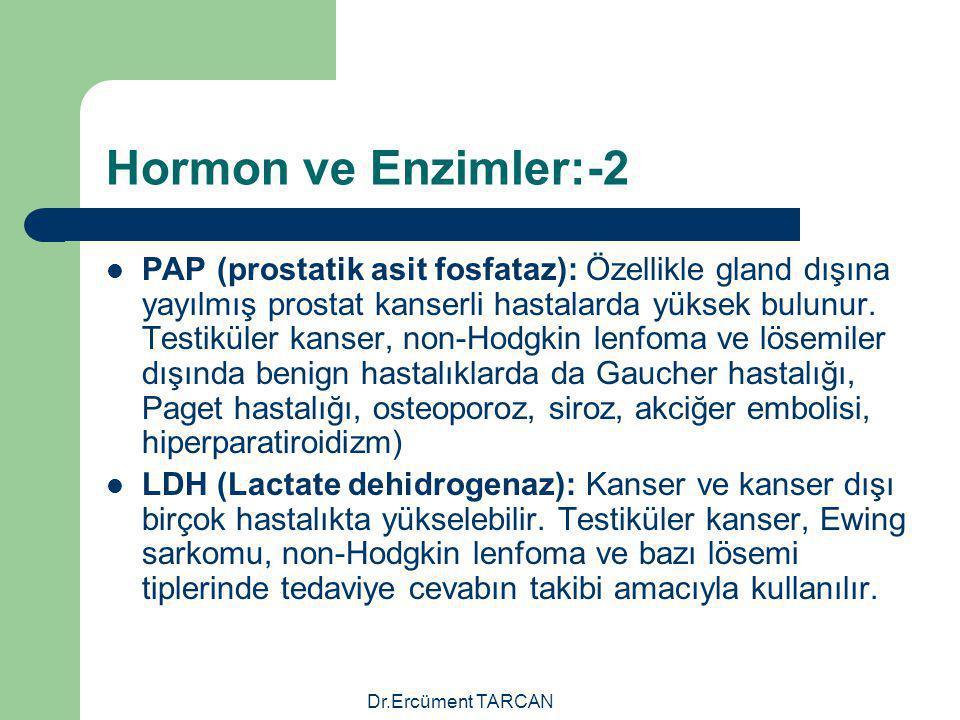 Dr.Ercüment TARCAN Hormon ve Enzimler:-2 PAP (prostatik asit fosfataz): Özellikle gland dışına yayılmış prostat kanserli hastalarda yüksek bulunur. Te