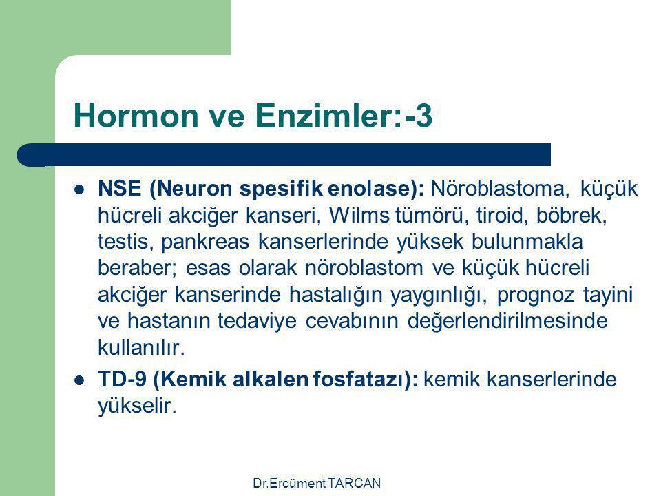 Dr.Ercüment TARCAN Hormon ve Enzimler:-3 NSE (Neuron spesifik enolase): Nöroblastoma, küçük hücreli akciğer kanseri, Wilms tümörü, tiroid, böbrek, tes