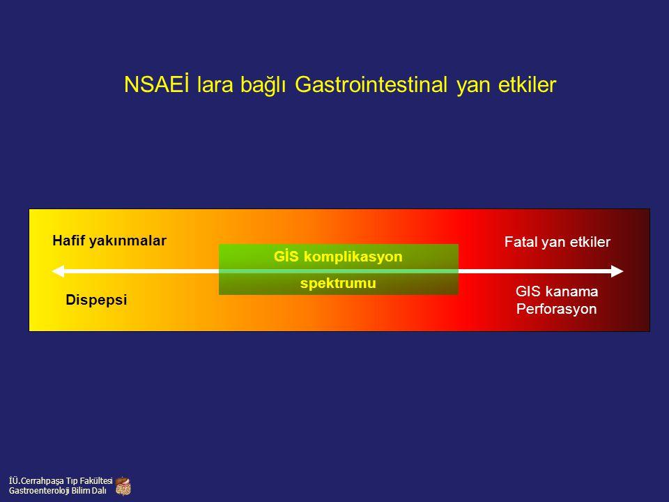 NSAEİ lara bağlı Gastrointestinal yan etkiler GIS kanama Perforasyon Fatal yan etkiler Dispepsi Hafif yakınmalar GİS komplikasyon spektrumu İÜ.Cerrahp