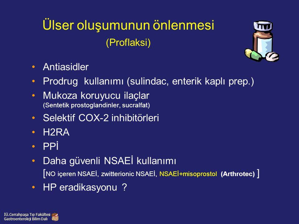Ülser oluşumunun önlenmesi (Proflaksi) Antiasidler Prodrug kullanımı (sulindac, enterik kaplı prep.) Mukoza koruyucu ilaçlar (Sentetik prostoglandinle