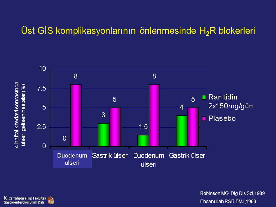 4 haftalık tedavi sonrasında ülser gelişen hastalar (%) İÜ.Cerrahpaşa Tıp Fakültesi Gastroenteroloji Bilim Dalı Üst GİS komplikasyonlarının önlenmesin