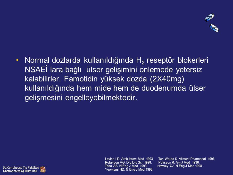 Normal dozlarda kullanıldığında H 2 reseptör blokerleri NSAEİ lara bağlı ülser gelişimini önlemede yetersiz kalabilirler. Famotidin yüksek dozda (2X40