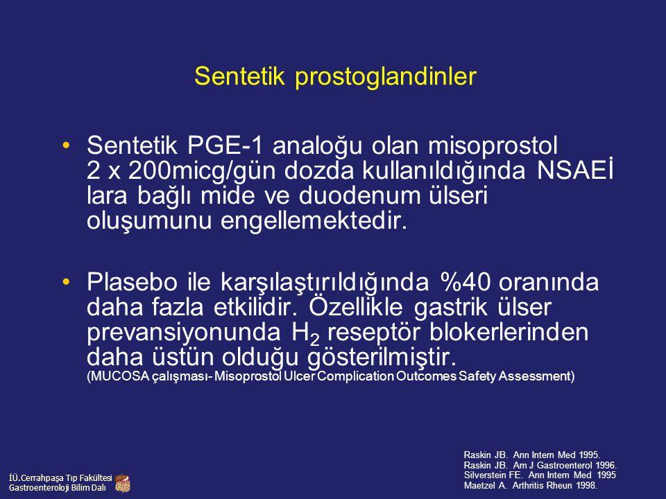 Sentetik prostoglandinler Sentetik PGE-1 analoğu olan misoprostol 2 x 200micg/gün dozda kullanıldığında NSAEİ lara bağlı mide ve duodenum ülseri oluşu