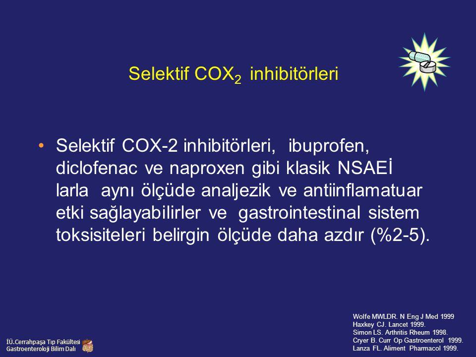 Selektif COX-2 inhibitörleri, ibuprofen, diclofenac ve naproxen gibi klasik NSAEİ larla aynı ölçüde analjezik ve antiinflamatuar etki sağlayabilirler