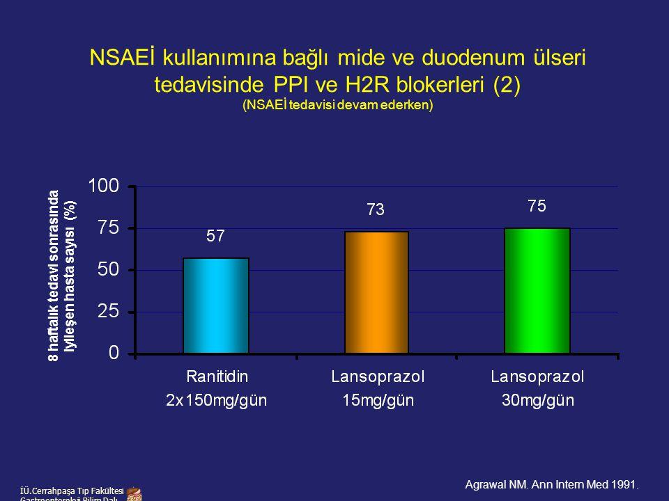 İÜ.Cerrahpaşa Tıp Fakültesi Gastroenteroloji Bilim Dalı 8 haftalık tedavi sonrasında iyileşen hasta sayısı (%) NSAEİ kullanımına bağlı mide ve duodenu