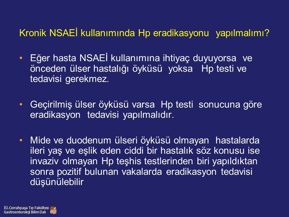 Eğer hasta NSAEİ kullanımına ihtiyaç duyuyorsa ve önceden ülser hastalığı öyküsü yoksa Hp testi ve tedavisi gerekmez. Geçirilmiş ülser öyküsü varsa Hp