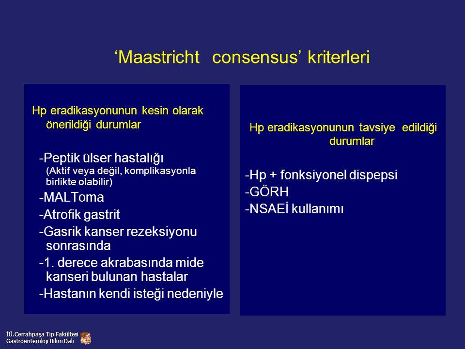 'Maastricht consensus' kriterleri Hp eradikasyonunun kesin olarak önerildiği durumlar -Peptik ülser hastalığı (Aktif veya değil, komplikasyonla birlik