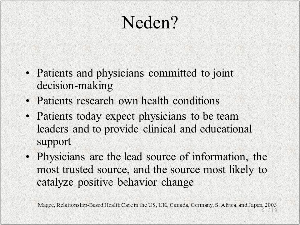 / 196 Neden? Patients and physicians committed to joint decision-making Patients research own health conditions Patients today expect physicians to be