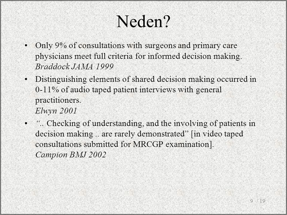 / 199 Only 9% of consultations with surgeons and primary care physicians meet full criteria for informed decision making.