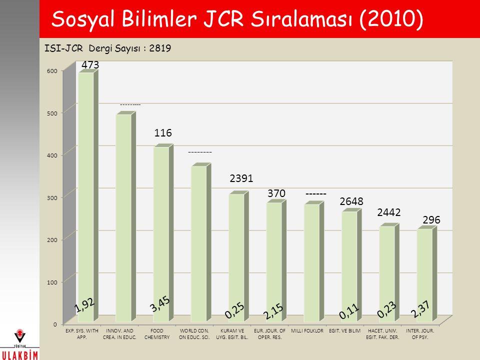 Sosyal Bilimler JCR Sıralaması (2010) ISI-JCR Dergi Sayısı : 2819 473
