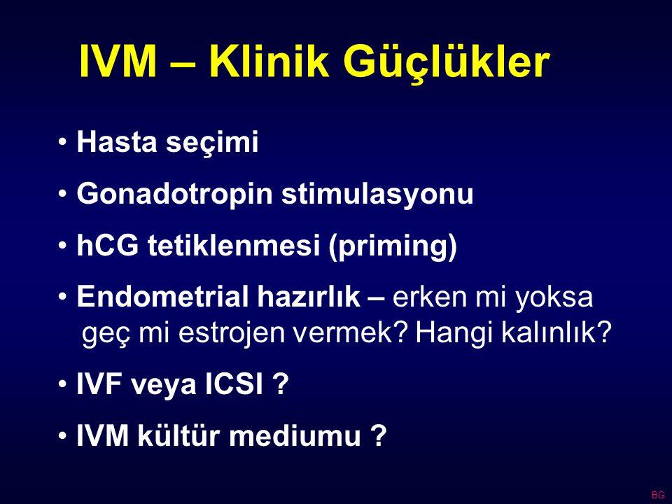 IVM – Klinik Güçlükler Hasta seçimi Gonadotropin stimulasyonu hCG tetiklenmesi (priming) Endometrial hazırlık – erken mi yoksa geç mi estrojen vermek.