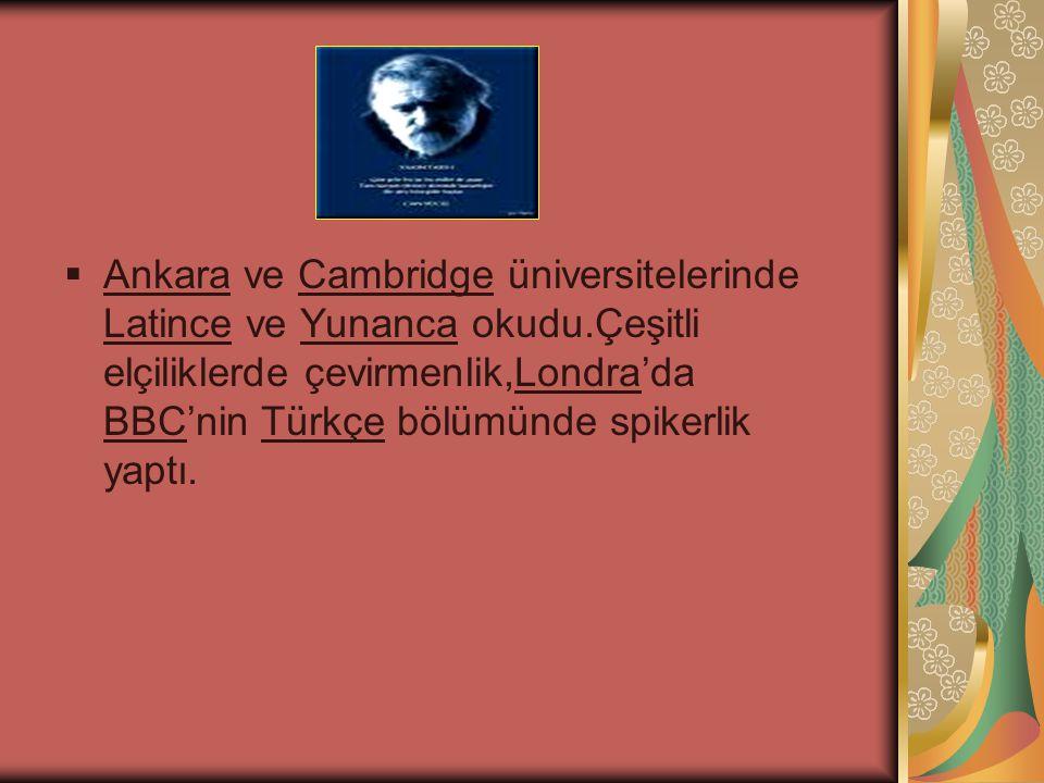  Ankara ve Cambridge üniversitelerinde Latince ve Yunanca okudu.Çeşitli elçiliklerde çevirmenlik,Londra'da BBC'nin Türkçe bölümünde spikerlik yaptı.